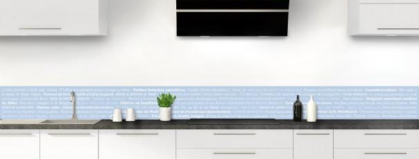 Crédence de cuisine Recettes de cuisine couleur bleu azur dosseret