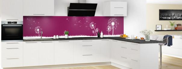 Crédence de cuisine Pissenlit au vent couleur prune panoramique motif inversé en perspective