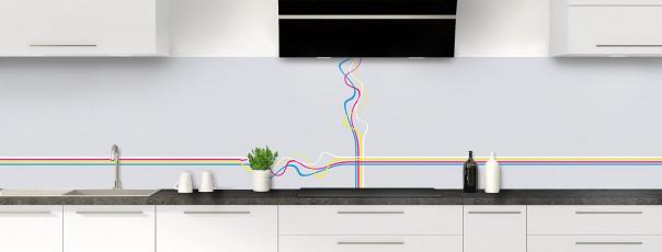 Crédence de cuisine Light painting couleur gris clair panoramique motif inversé