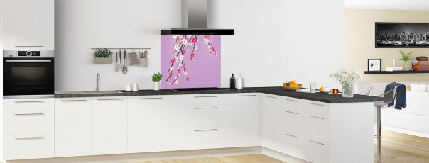 Crédence de cuisine Arbre fleuri couleur parme fond de hotte motif inversé en perspective