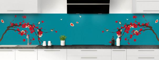 Crédence de cuisine Cerisier japonnais couleur bleu canard panoramique