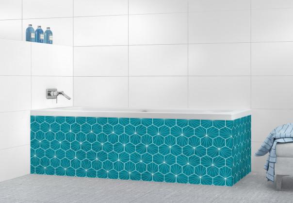 Panneau tablier de bain Carreaux de ciment hexagonaux Bleu