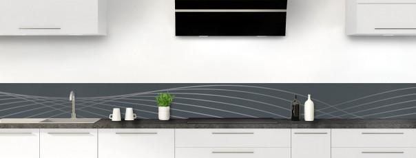 Crédence de cuisine Courbes couleur gris carbone dosseret motif inversé