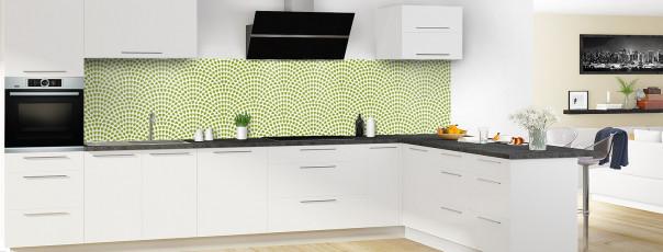 Crédence de cuisine Mosaïque petits cœurs couleur vert olive panoramique en perspective