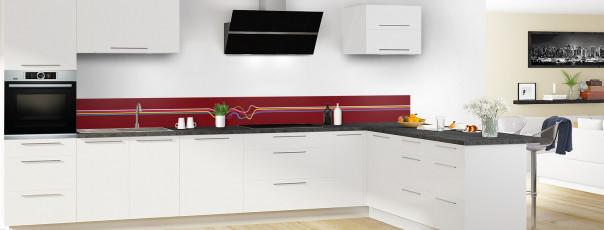 Crédence de cuisine Light painting couleur rouge pourpre dosseret motif inversé en perspective