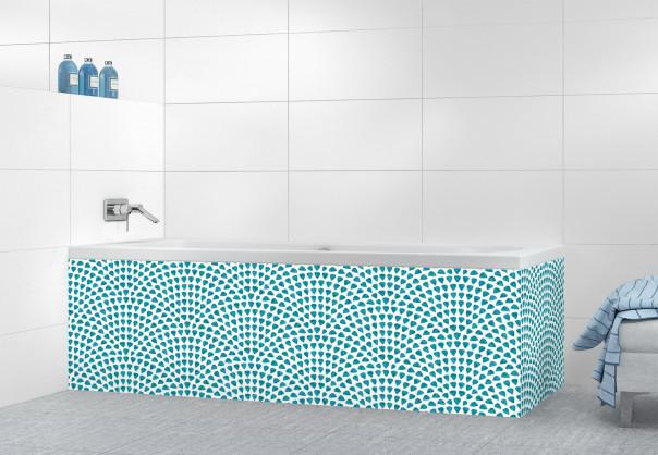 Panneau tablier de bain Mosaïque petits cœurs couleur bleu canard