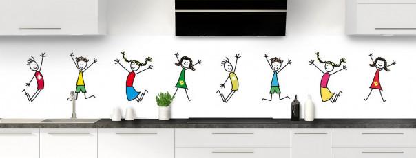 Crédence de cuisine illustration Enfants  panoramique motif inversé