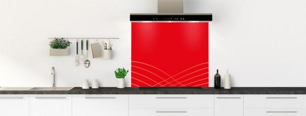 Crédence de cuisine Courbes couleur rouge vif fond de hotte motif inversé