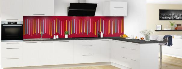 Crédence de cuisine Barres colorées couleur rouge carmin panoramique en perspective