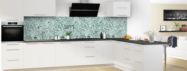Crédence de cuisine Love illustration couleur vert pastel panoramique en perspective