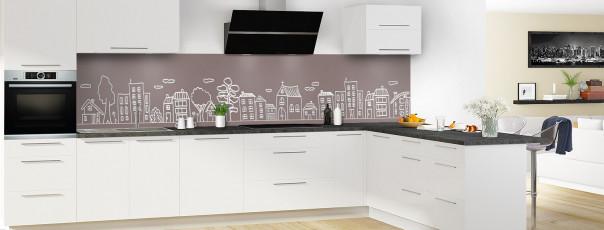 Crédence de cuisine Dessin de ville couleur taupe panoramique en perspective