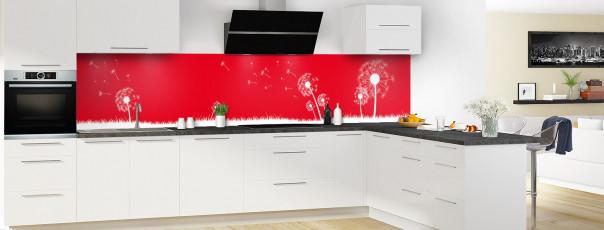 Crédence de cuisine Pissenlit au vent couleur rouge vif panoramique motif inversé en perspective