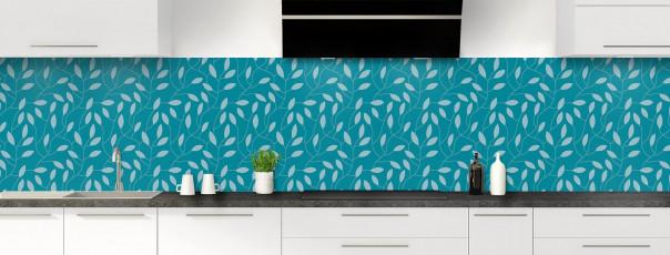 Crédence de cuisine Rideau de feuilles couleur bleu canard panoramique
