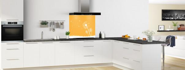 Crédence de cuisine Pissenlit au vent couleur abricot fond de hotte motif inversé en perspective