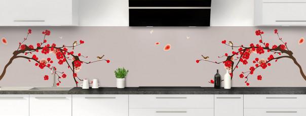 Crédence de cuisine Cerisier japonnais couleur argile panoramique motif inversé
