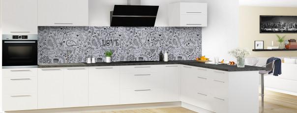 Crédence de cuisine Love illustration couleur gris métal panoramique en perspective