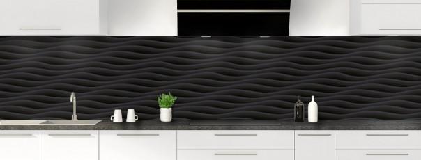 Crédence de cuisine Ondes couleur noir panoramique