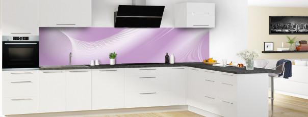 Crédence de cuisine Volute couleur parme panoramique en perspective