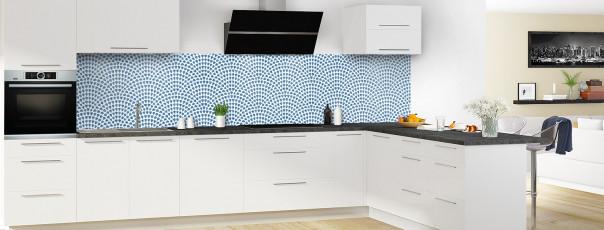 Crédence de cuisine Mosaïque petits cœurs couleur bleu lavande panoramique en perspective
