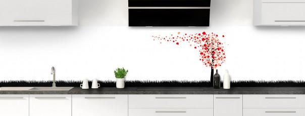 Crédence de cuisine Arbre d'amour couleur rouge vif panoramique motif inversé