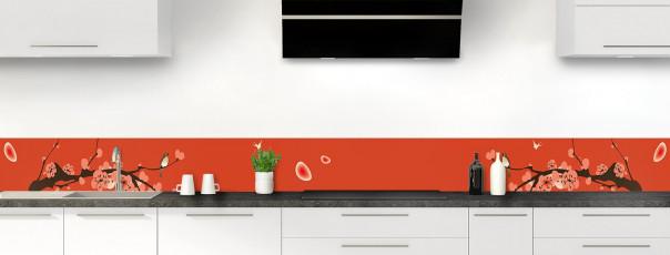 Crédence de cuisine Cerisier japonnais couleur rouge brique dosseret