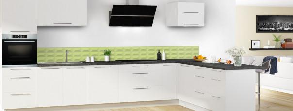 Crédence de cuisine Briques en relief couleur vert olive dosseret en perspective
