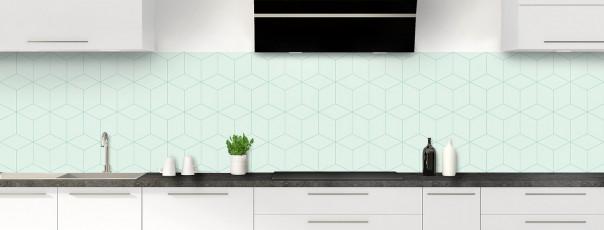 Crédence de cuisine Cubes en relief couleur vert eau panoramique