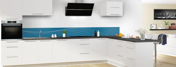 Crédence de cuisine Courbes couleur bleu baltic dosseret motif inversé en perspective