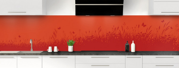 Crédence de cuisine Prairie et papillons couleur rouge brique panoramique motif inversé