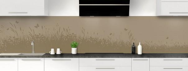 Crédence de cuisine Prairie et papillons couleur marron glacé panoramique