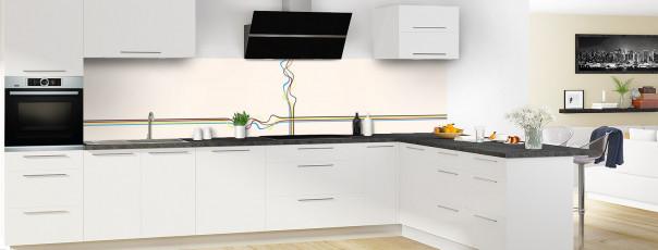 Crédence de cuisine Light painting couleur magnolia panoramique motif inversé en perspective