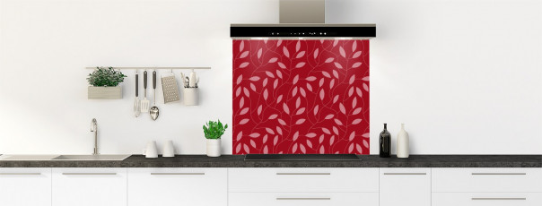 Crédence de cuisine Rideau de feuilles couleur rouge carmin fond de hotte
