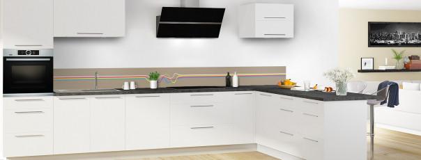 Crédence de cuisine Light painting couleur marron glacé dosseret motif inversé en perspective