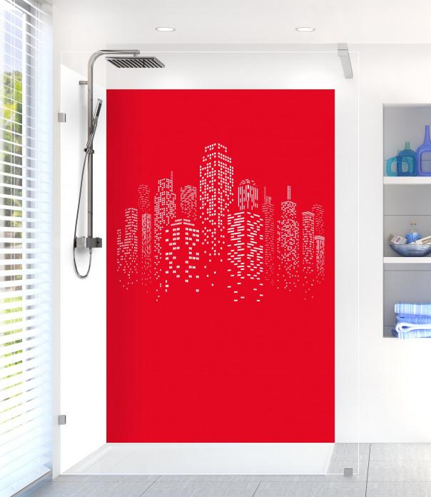 Panneau de douche Gratte-ciels couleur rouge vif