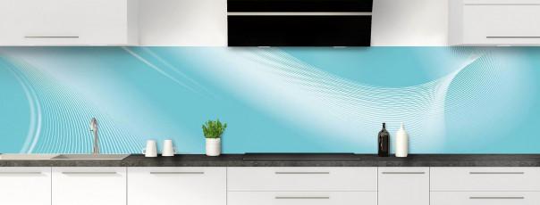 Crédence de cuisine Volute couleur bleu lagon panoramique motif inversé
