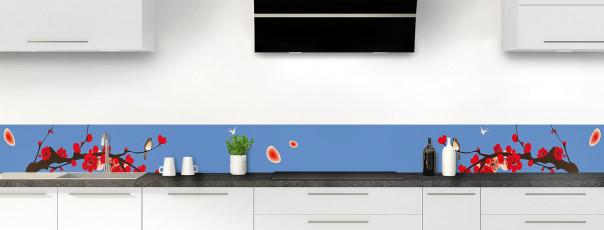 Crédence de cuisine Cerisier japonnais couleur bleu lavande dosseret