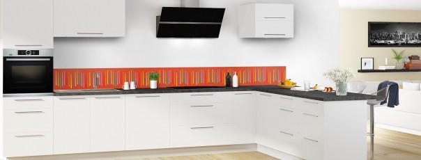 Crédence de cuisine Barres colorées couleur rouge brique dosseret en perspective
