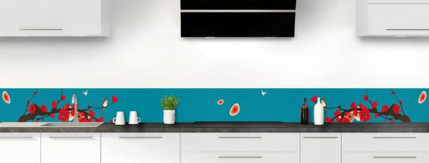 Crédence de cuisine Cerisier japonnais couleur bleu canard dosseret motif inversé