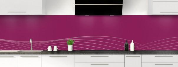 Crédence de cuisine Courbes couleur prune panoramique motif inversé