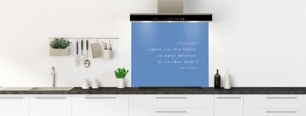 Crédence de cuisine  Citation Paul Gauguin couleur bleu lavande fond de hotte