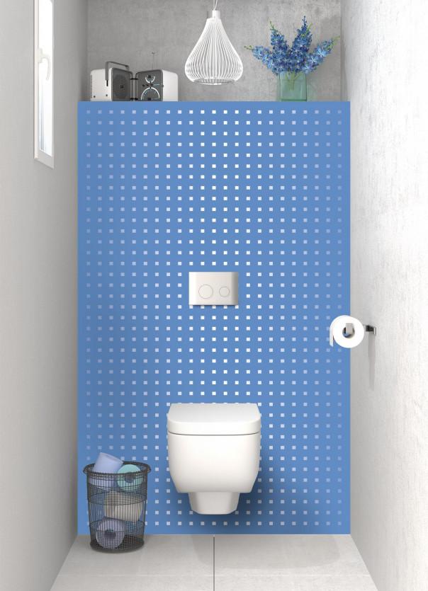 Panneau WC Petits carrés couleur bleu lavande