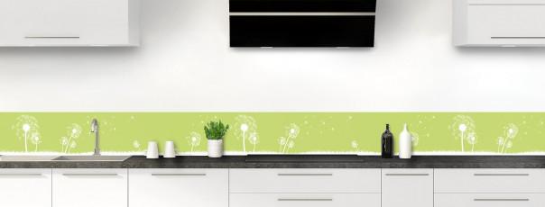 Crédence de cuisine Pissenlit au vent couleur vert olive dosseret