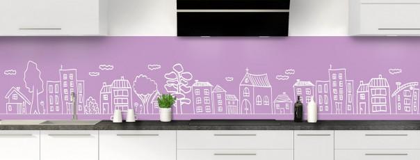 Crédence de cuisine Dessin de ville couleur parme panoramique