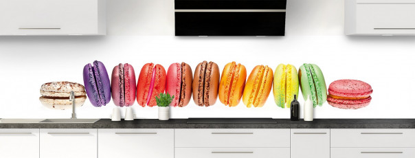 Crédence de cuisine Macarons panoramique motif inversé