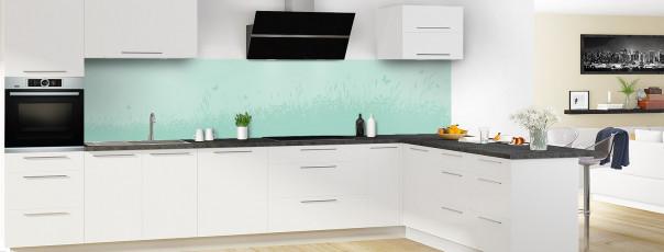Crédence de cuisine Prairie et papillons couleur vert pastel panoramique motif inversé en perspective