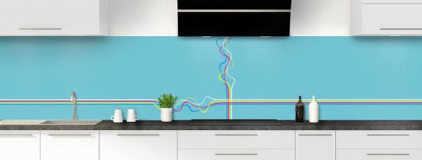 Crédence de cuisine Light painting couleur bleu lagon panoramique motif inversé