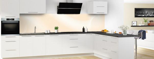 Crédence de cuisine Volute couleur sable panoramique motif inversé en perspective