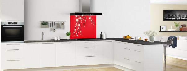 Crédence de cuisine Arbre fleuri couleur rouge vif fond de hotte motif inversé en perspective