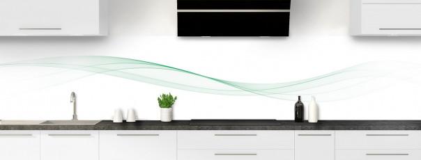 Crédence de cuisine Vague graphique couleur vert eau panoramique
