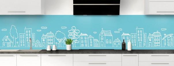 Crédence de cuisine Dessin de ville couleur bleu lagon panoramique